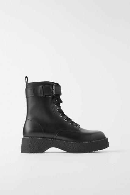Zara Leather Boots Biker