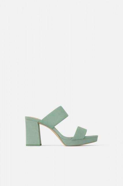 Poze Zara Leather Green Sandals