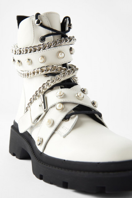 Poze Zara Pearl Ankle Boots White