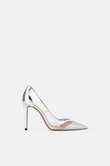 Poze Zara Soft Silver Vinyl Heel
