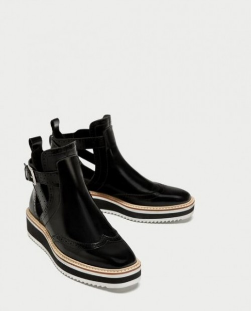 Poze Zara Flat cut-out ankle boots