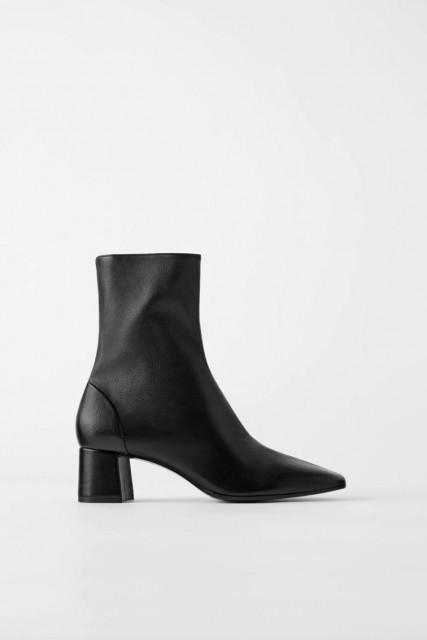 Zara Soft Leather Ankle Botin