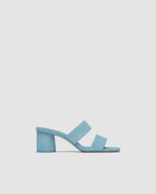 Zara Leather Blue Sandals