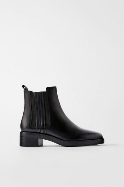 Zara Leather Boots Elasticated