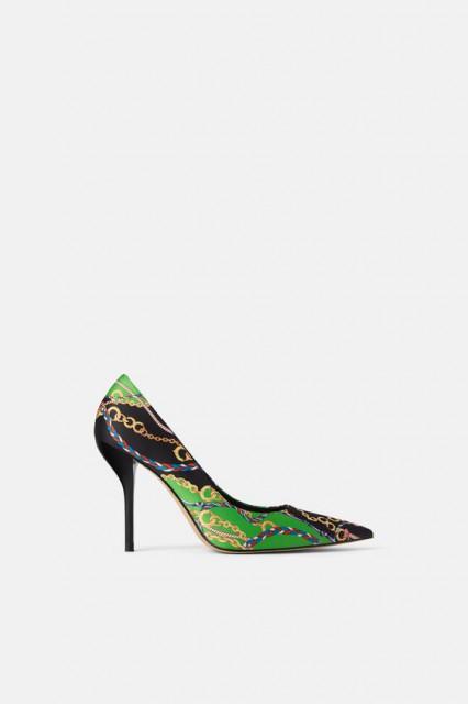 Poze Zara Fabric Printed Heel