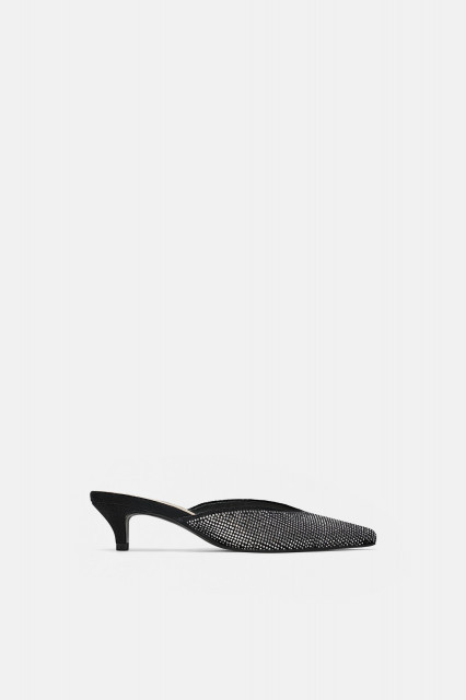 Poze Zara Velvet Leather Mules Shoes