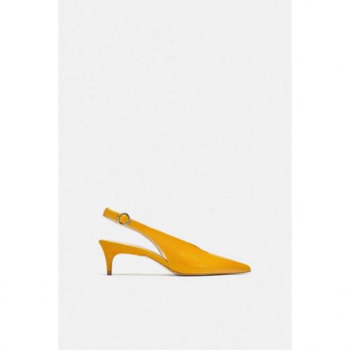 Poze Zara Leather Yellow SlingBack