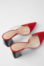 Zara Mules Red Vinyl Shoes
