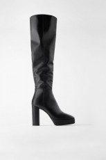 Zara Leather High PLatform Boots