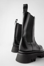 Zara Track Leather Ankle Boots