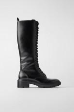 Zara Flat Boots With Eyelet