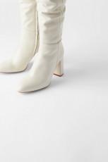Zara Leather Boots Ecru