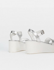 Stradivarius Silver Platform Sandals