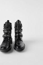 Zara Flat Leather Ankle Pearl