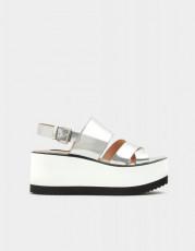 Pull&Bear Silver Platform Sandals