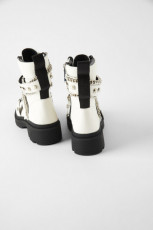 Zara Pearl Ankle Boots White