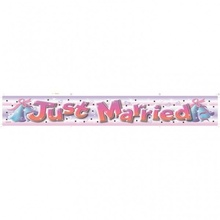 Banner nunta din folie 3.63mx13cm JUST MARRIED