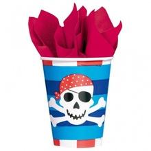 Pahare pirati din carton 266ml Pirates Treasure set 8 buc