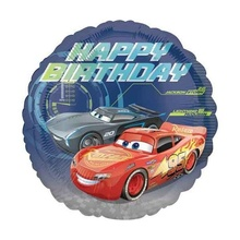 Balon folie metalizata 43cm Cars 3 Happy Birthday