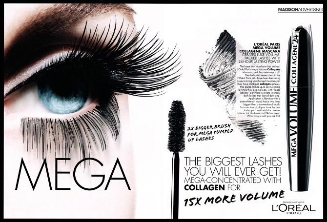 Mascara volum L'Oreal Paris Mega Volume Collangen Extra Black 24h 9ml