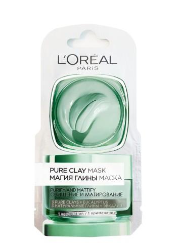 Masca de fata purifiantă pentru matifierea tenului L'Oreal Paris Pure Clay cu eucalipt 6ml