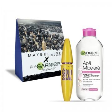 Pachet promo Garnier Skin Naturals Apa Micelara ten sensibil + Maybelline Mascara The Colossal volum colosal