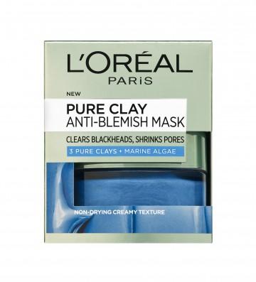 Poze Masca de fata pentru tenul cu imperfectiuni L'Oreal Paris Pure Clay cu Alge Marine 50 ml