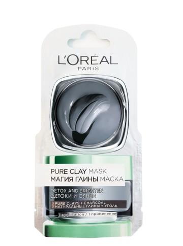 Poze Mască de fata revitalizantă pentru iluminarea tenului L'Oréal Paris Pure Clay cu extract de Cărbune 6ml