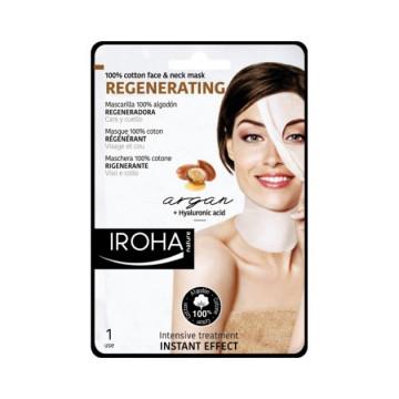 Masca servetel Iroha Cotton Face&Neck Mask Regenerating Argan+Hyaluronic Acid