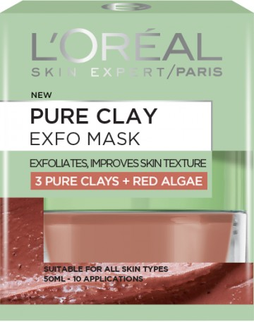 Poze Masca exfolianta pentru netezirea tenului L'Oreal Paris Pure Clay cu extract de alga rosie 50 ml