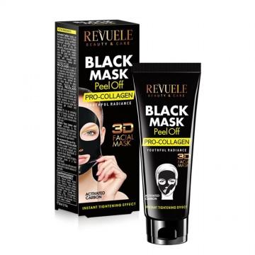 """Masca """"peel off""""cu acid hyaluronic Revuele black mask peel off hyaluron 80ml"""