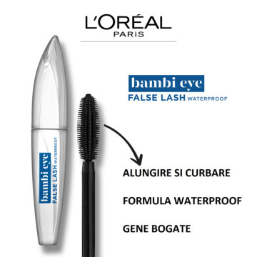 L'Oreal Paris Mascara efect gene false Bambi Eye False Lash Waterproof, 8.9 ml