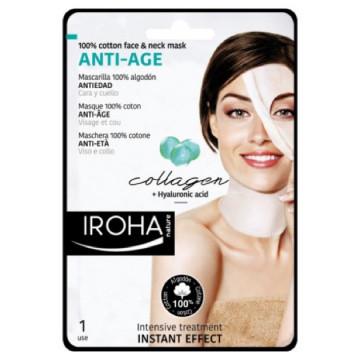 Masca servetel Iroha Cotton Face&Neck Mask Anti-Age Collagen+Hyaluronic Acid