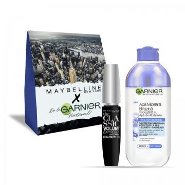 Pachet promo Garnier Skin Naturals Apa Micelara Bifazica cu Apa de albastrele + Maybelline Mascara The Classic Volume Express