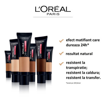 Poze L'Oreal Paris Infaillible 24H Matte Cover fond de ten matifiant 290, Golden Amber, 30ml