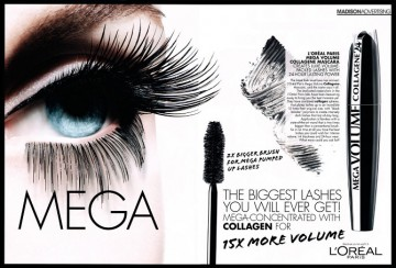 Poze Mascara volum L'Oreal Paris Mega Volume Collangen Extra Black 24h 9ml