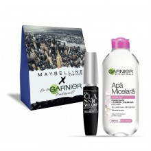 Pachet promo Garnier Skin Naturals Apa Micelara ten sensibil + Maybelline Mascara The Classic Volume Express