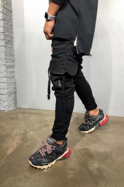 Pantaloni Cargo Barbati Cu Fermoare Si Snur