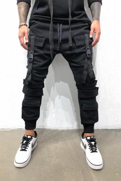 Pantaloni Cargo Barbati Slim Fit Negri Cu Buzunare Aplicate Si Snur M1008