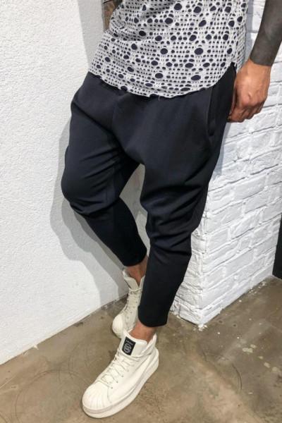 Pantaloni Casual Barbati Navy Cu Snur Stil Jogger din Bumbac M2069
