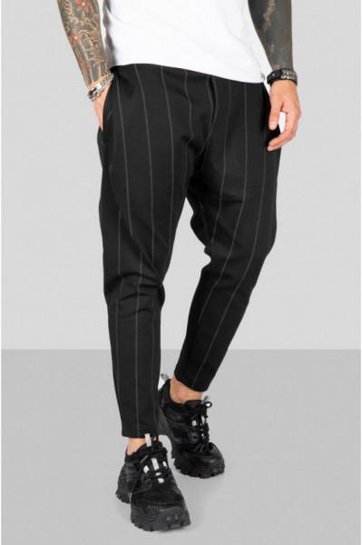 Pantaloni Casual Barbati Negri Stil Jogger Cu Dungi din Bumbac 100% M1034i