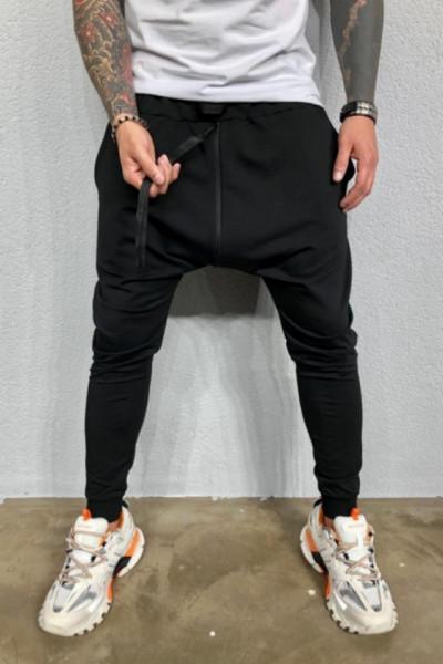 Pantaloni Barbati Slim Fit Negri Cu Fermoare Laterale Si Tur Lasat M2010