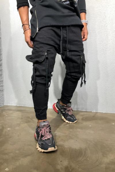 Pantaloni Cargo Barbati Slim Fit Negri Cu Fermoare Si Snur M3384
