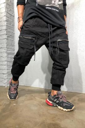 Pantaloni Cargo Barbati Cu Buzunare Aplicate Si Snur