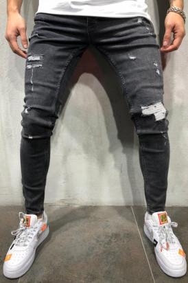 Blugi Barbati Slim Fit Rupti Negri Editie Limitata M570
