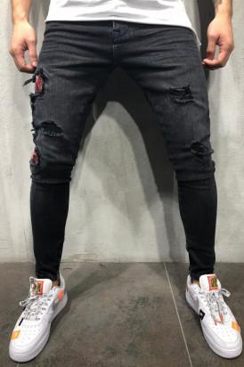 Blugi Barbati Slim Fit Rupti Negri M4233