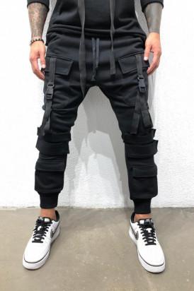 Pantaloni Cargo Barbati Slim Fit Cu Buzunare Aplicate Si Snur