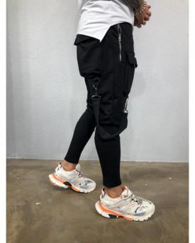 Pantaloni de Trening Barbati Slim Fit Negri Cu Buzunare Aplicate Si Bretele M1002