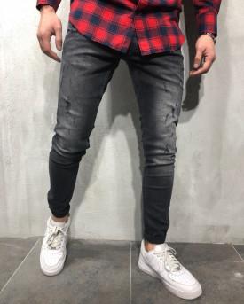 Blugi Barbati Slim Fit Rupti Discret Negri Simpli M7003