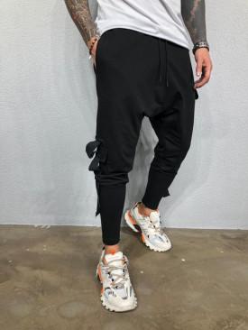 Pantaloni Cargo Barbati Slim Fit Negri Cu Buzunare Laterale Si Tur M2008